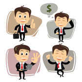 Vector businessman in various poses — Stock vektor