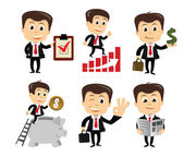 Vector businessman in various poses — Stock Vector