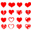 Vector hearts icon set — Stock Vector