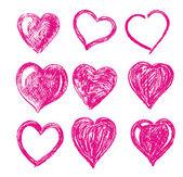 Hand drawn vector hearts — Stock Vector