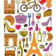 Vector france icons set — Stock Vector