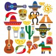 Stock Vector: Vector mexico icons