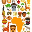Vector africa icon set — Stock Vector