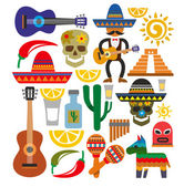 Vector mexico icons — Stock Vector
