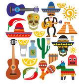 Vector mexico icons — Vector de stock