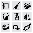 Vector black cleaning icons set on gray — Stock Vector #37752745