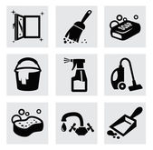 Vector black cleaning icons set on gray — Stock Vector