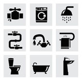 Vector bathroom icon set — Stock Vector