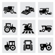 Vector black agricultural transport icons set — Stock Vector #37789509