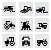 Vector black agricultural transport icons set — Stock Vector