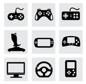 Vector video game and joystick icons set — Stock Vector