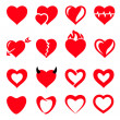 Stock Vector: Vector hearts icon set
