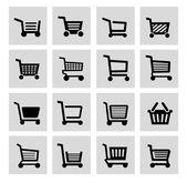 Vector black shopping cart icon set — Stock Vector