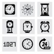 Vector black clocks icons — Wektor stockowy  #37908217