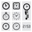 Vector black clocks icons — Vector de stock