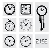 векторные значки черный часы — Cтоковый вектор