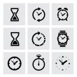 Vector black clocks icons — ストックベクタ #38005261
