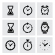 Vector black clocks icons — Vecteur