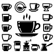 Vector black coffee icons — Stock Vector #39385113