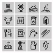 Vector black agriculture and farming icons set — Stock vektor