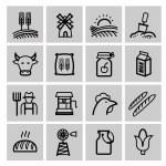 Vector preto agricultura e criação de conjunto de ícones — Vetorial Stock