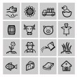 Vector black agriculture and farming icons set — 图库矢量图片