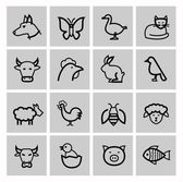 Vector black agriculture and farming icons set — Stock Vector