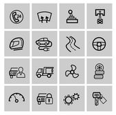 Vector black auto icons set — Stock Vector