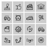Vector black auto icons set — Stock Vector