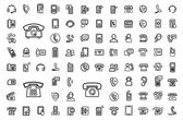 Vector black phone icons set — Stock Vector