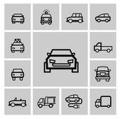 Vector black auto icon set — Stock Vector