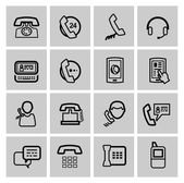 Vector black phone icons set — Stock Vector
