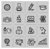 Education icons, signs, vector illustration set — Stok Vektör