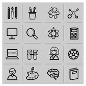 Education icons, signs, vector illustration set — Vettoriale Stock