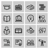Vector black higher education icons — Stock Vector