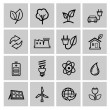 Vector black eco energy icons set — Stock Vector