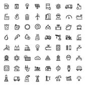 Vector black energy icons set — Stock Vector