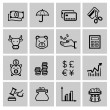 Vector black business icons — Stock Vector