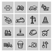 Vector black construction icons set — 图库矢量图片