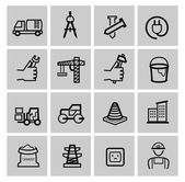 Vector black construction icons set — Stockvektor
