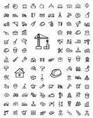 Vector black construction icons set — Stock Vector