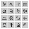 Vector black vacation travel icon set — Vector de stock