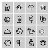 Vector black vacation travel icon set — Stock Vector