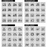 Vector black transport icons set — Stock Vector #41111063