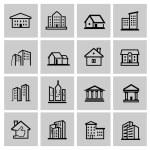 Vector black real estate set — Stock Vector