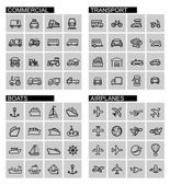 Vector black transport icons set — Stock Vector