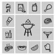 Vector black barbecue icons set — Stock Vector