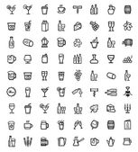 Vector black beverages icons set — Stock Vector