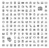 Vector black video and audio icons set — Stock Vector