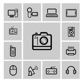 Vector black electronic devices icons set — Vector de stock